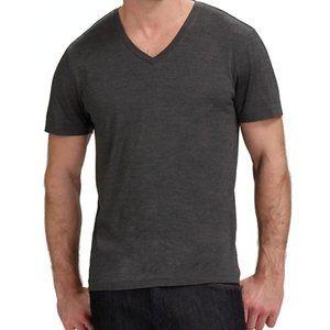 Theory Claey Dark Gray Short Sleeve V-Neck Shirt